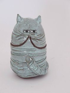 Clementina Ceramic Cat -Mint fat cat jar