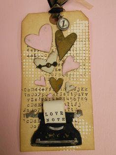 Tim Holtz Technique Valentine Tag for Class at Lorraine's Memories 2014 die Scrapbook Cards, Scrapbooking, Retro Typewriter, Card Creator, Heart Cards, Vintage Tags, Valentine Day Cards, Tim Holtz, Tag Art