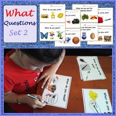 What Questions Autism Worksheets for SPED, Speech Therapy Set 2  Teaching asking and answering what where when which questions to preschool and kindergarten students is very importand and needs lots of good visuals and flashcards for different activities and games.  #whquestions #autismresources For more resources follow https://www.pinterest.com/angelajuvic/autism-and-special-education-resources-angie-s-tpt/