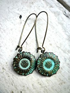 Patina sunflower charm earrings. Bohemian Jewelry. Sunflowers. Small Dangle, Lightweight Everyday Wear Earrings. http://www.mckeejewelrydesigns.com/ 	 Andria McKee, McKee Jewelry,  McKee Jewelry Designs,   Hand made jewelry, jewellery