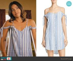 Jane's blue striped tie-sleeve dress on Jane the Virgin. Outfit Details: https://wornontv.net/82415/ #JanetheVirgin