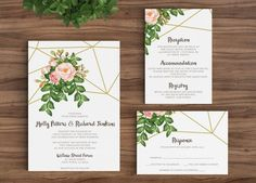 Love these! Wedding Invitation Template Rustic Bohemian Floral - Geometric, Gold, Watercolor, Diamonds Vintage Spring Flower Modern Printable DIY (1110)