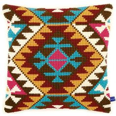 Ethnic Print Printed Cross Stitch Cushion Kit by Vervaco is a chunky cross stitch design which is printed on 5 count canvas for easy stitching. Cross Stitch Cushion, Cross Stitch Fabric, Cross Stitch Kits, Cross Stitch Designs, Cross Stitching, Cross Stitch Embroidery, Cross Stitch Patterns, Needlepoint Pillows, Needlepoint Kits