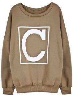 Khaki Letter C Print Round Neck Sweatshirt US$25.41
