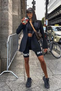 Biker Shorts Outfit Discover F Off Biker Shorts - Black F Off Biker Shorts - Black Fashion Nova Trendy Fall Outfits, Swag Outfits For Girls, Winter Fashion Outfits, Mode Outfits, Retro Outfits, Cute Casual Outfits, Girl Outfits, Tomboy Fashion, Look Fashion