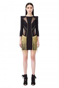 Mini abito con lacci e frange - Elisabetta Franchi Moda Italiana 892814e9fe47