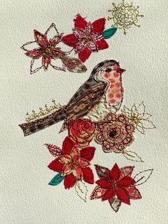Christmas Robin mixed media stitched art by AmandaWoodDesigns, £24.00