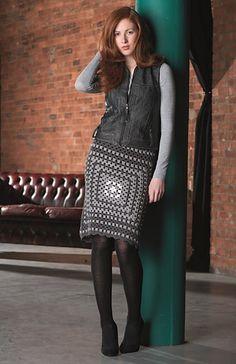 Monochrome Granny-Square Skirt
