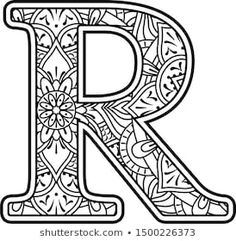 Imagens, fotos stock e vetores similares de Hand drawn capital letter P in black - coloring sheet for adults - 699975214 Colouring Sheets For Adults, Colouring Pages, Coloring Sheets, Coloring Books, Mandala Art, Mandala Drawing, Quilling Patterns, Quilling Designs, Zentangle Patterns