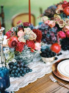 Jewel toned winter wedding tablescape. Love the use of berries and fruit to add rich colors. How about using fruit with your wedding monogram or logo? Check out funtoeatfruit.com for inspiration!