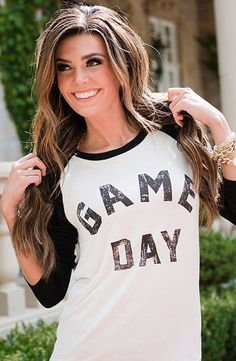 """GAME DAY Baseball Sleeve Tee- I absolutely love this! It would be perfect for """"sports moms"""". Id love you his for my sons games! Basketball Mom, Girls Softball, Baseball Shirts, Sports Shirts, Baseball Stuff, Coaches Wife, Team Mom, Baseball Season, Sports Mom"""