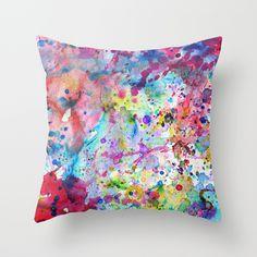 Water Color splatter paint pillow
