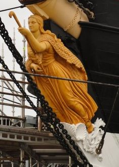 The figurehead 'Ran', the goddess of the sea and wife of the sea god Aegir in Nordic mythology. Ran would catch drowning sailors in her net, which is wrapped around her shoulders.