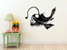 Angler Fish Finding Nemo Ocean Decal Ocean Decor Sea - Angler Fish Vinyl Wall Art Decal By Vinylwalladornments On Etsy Handmade Forest Wall Stickers Animal Deer Birds Jungle Mural Art For Living Room Wall Art Decals Home Decoration Deer Nurser Drawn Fish, Fish Home, Wall Appliques, Wall Stickers Animals, Fish Drawings, Art Drawings, Traditional Ink, Mural Wall Art, Colorful Fish