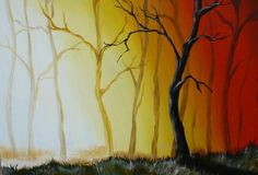 Easy Tree Paintings On Canvas   Acrylics - Misty Forest Tree Landscape (Acrylic Painting) was listed ...
