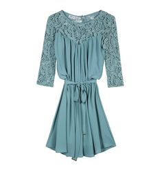 Mini dress with lace sleeves, button closure to the back and self tie belt