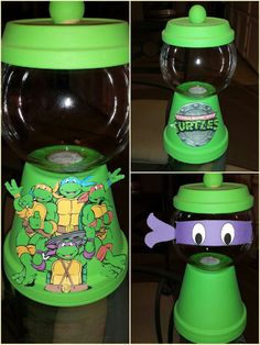 I like the ninja turtle mask better and it seems much easier being that I suck at drawing Ninja Turtle Party, Ninja Turtles, Ninja Party, Ninja Turtle Birthday, Ninja Turtle Crafts, Clay Pot Projects, Clay Pot Crafts, Ninja Turtle Centerpieces, Turtle Birthday Parties
