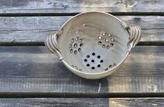 Pottery Berry Bowl or Colander - dignify || JustPotters is a social enterprise out of Vancouver, BC, creating beautiful, handmade pottery while fulfilling a mandate to employ people who face barriers to work including addiction, physical limitations, or mental health challenges.