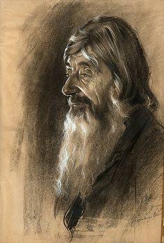 Oral poet Onoila by Eero Järnefelt, 1913 Pastel Pencils, Most Beautiful Faces, Bukowski, Finland, Watercolor Art, Lion Sculpture, Ink, Statue, Illustration