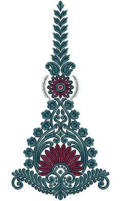 Embroidery Neck Designs, Vintage Embroidery, Beaded Embroidery, Embroidery Patterns, Machine Embroidery, Paisley Pattern, Pattern Art, Sari Design, Line Artwork