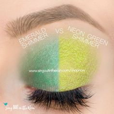 Neon Green Shimmer vs. Emerald Shimmer ShadowSense side by side comparison.  These long-lasting SeneGence eyeshadows help create envious eye looks.  #eyeshadow #shadowsense