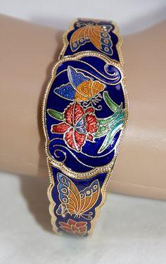 Vintage Cloisonne Gold Tone Bracelet