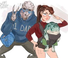Garrus would be SUCH a dad too. All the stereotypical dad things.