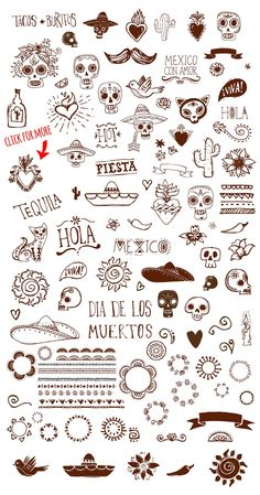 Mexican Hand Drawn Doodles Set by Marish on Creative Market<br> Kritzelei Tattoo, Doodle Tattoo, Poke Tattoo, Doodle Drawings, Doodle Art, Tattoo Drawings, Hand Poked Tattoo, Hand Logo, Finger Tattoos
