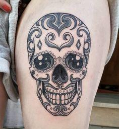 Gorgeous Sugar Skull Tattoo by Nikos Tsakiris