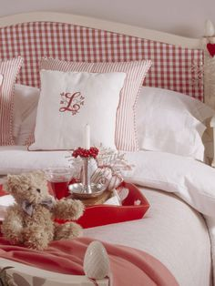 red gingham headboard