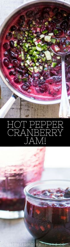 Hot Pepper Cranberry Jam is one of these recipes you just have to try to understand.  If you're a fan of hot pepper jelly, this is for you ~ the tart and tangy cranberries marry up perfectly with the heat of the hot pepper for one memorable taste experience.  #appetizer #hotpepperjelly #jalapeñojelly #jalapeño #holidayfoodgift #hostessgift #cheeseplate #cheeseandcrackers #savoryjam #spicy #cayenne #Thanksgiving #Christmas #holidayappetizer #cranberries