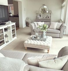 Beautiful grey throw from Dusk and grey wicker basket with cushions. living room layout with tv Coastal Living Rooms, Living Room Grey, Living Room Interior, Home Living Room, Living Room Designs, Living Room Decor, Shabby Chic Grey Living Room, Living Room Layouts, Grey Living Room Furniture