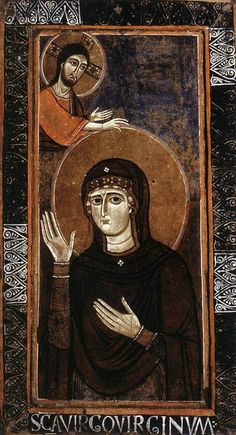 Maria Advocata A 12th century painting by an unknown Italian master of Mary interceding before Christ (Haghiosoritissa)