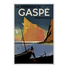 Rocher Perse' Gaspe vintage travel poster
