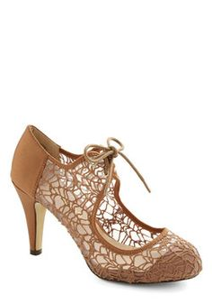 To Thee I Web Heel in Tan. Your besties wedding is a breathtaking affair made all the more magical by the image of you walking down the aisle before her in these tan heels! #tan #modcloth