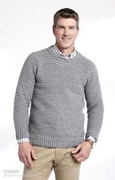 Adult Crochet Crew Neck Pullover - Patterns | Yarnspirations xs to 5xl 9 or 10 balls simply soft