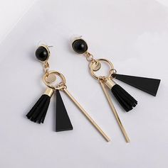 Geometric Long Tassel Earrings