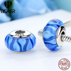 Genuine 925 Sterling Silver Blue DIY Glass Czech Beads Fit Pandora Charm Bracelet DIY Beads Jewelry Making Accessories Bijoux #Affiliate