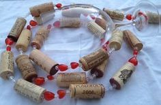 WINE CORK GARLAND upcycled rustic red heart beads , 8 foot