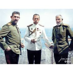 Prince Ferdinand of Romania, Tsar Nicholas II of Russia and King Carol I of Romania in Constanta, Romania during the last visit abroad for the Romanov family, 1914 (colorized) Tsar Nicolas, Tsar Nicholas Ii, Czar Nicolau Ii, Romanian Royal Family, Anastasia Romanov, Royal Photography, Bathing Costumes, Peles Castle, Military Pictures