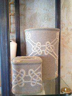 Decorative Bath Accessories available at Amelia's Fine Linens, Chesterfield, MO Fine Linens, Chesterfield, Bath Accessories, Burlap, Reusable Tote Bags, Decor, Decorating, Bathroom Fixtures, Hessian Fabric