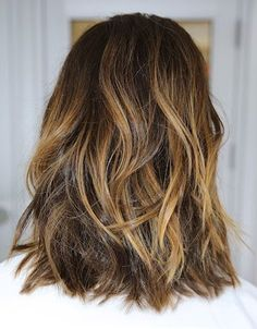 Pretty caramel highlights. Great choice for the Summer-into-Fall transition!