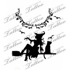 Witch on a Broomstick Silhouette Tattoo | Design #32119 | CreateMyTattoo.com