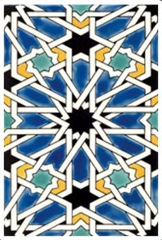 Sevilla Bleu Moroccan Ceramic Tile Matching field tile and complementary accents available. Motif Arabesque, Painting Ceramic Tiles, Italian Tiles, Hexagon Tiles, Oriental Design, Moorish, Hand Painted Ceramics, Tile Patterns, Geometric Art