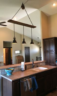 Barn Wood Pulley Vaulted Ceiling Light Fixture Pendants Are From Lowes FixturesCeiling LightsKitchen LightingBuilding IdeasBarn