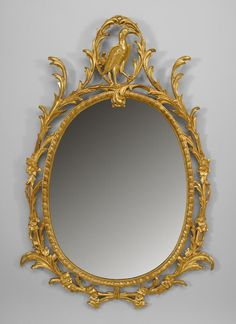 English Georgian-style Century) gilt oval vertical wall mirror with filigree floral border and bird design top. Old Frames, Antique Frames, Mirror Plates, Mirror Mirror, Georgian Interiors, Vintage Mirrors, Light Of Life, Floral Border, Bird Design