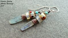 Tribal Style Lampwork Glass Kyanite Copper by livewirejewelrysb