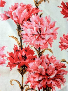 Tea towel pink red carnation 1950s cotton by Atomicvixenapparel, $52.00