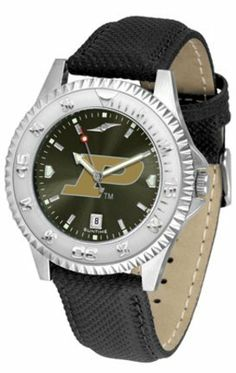 Purdue Boilermakers Competitor AnoChrome Men's Watch with Nylon/Leather Band by SunTime. $85.45. Showcase the hottest design in watches today! A functional rotating bezel is color-coordinated to compliment the NCAA Purdue Boilermakers logo. A durable, long-lasting combination nylon/leather strap, together with a date calendar, round out this best-selling timepiece.The AnoChrome dial option increases the visual impact of any watch with a stunning radial reflection similar to th...