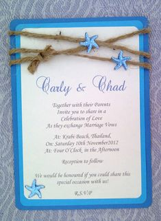 Rustic Blue Starfish Beach Themed Invitation card, triple layered flat Invitation on Etsy, $4.43